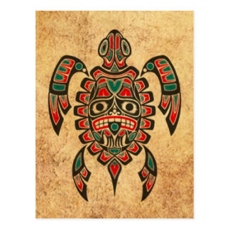 Vintage Red and Green Haida Spirit Sea Turtle Post Cards