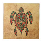 Vintage Red and Green Haida Spirit Sea Turtle Tile