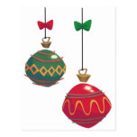 Vintage Red and Green Retro Christmas Ornaments Postcards