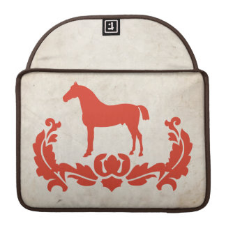 Vintage Red and Ivory Damask Horse MacBook Pro Sleeve