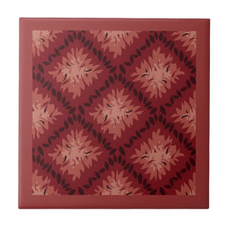 Vintage Red and Mauve Repeated Pattern Small Square Tile