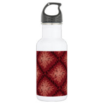 Vintage Red and Mauve Repeated Pattern Stainless Steel Water Bottle