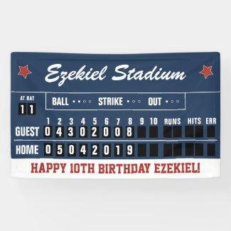 Vintage Red and Navy Baseball Scoreboard Birthday Banner