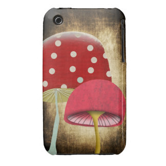 Vintage Red and Pink Mushrooms iPhone 3 Case