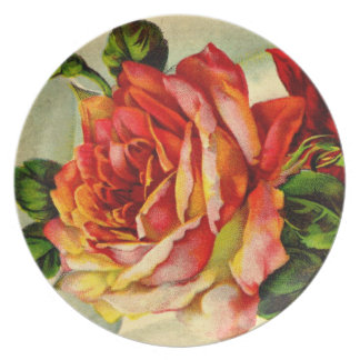 Vintage Red and Pink Rose - Plate