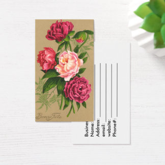 Vintage, Red and Pink Roses Business Card