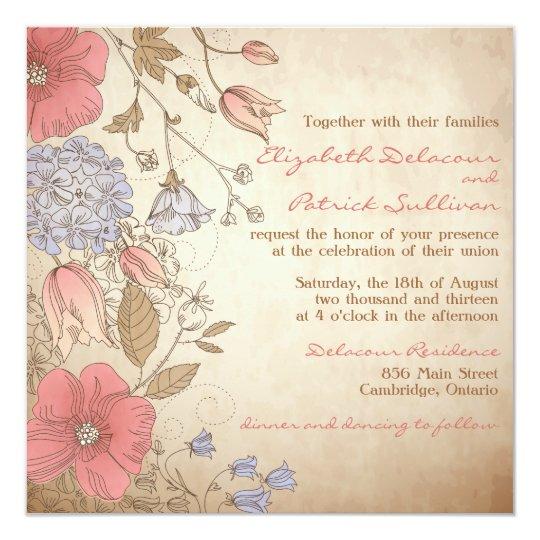 Vintage Red And Purple Flowers Wedding Invitation
