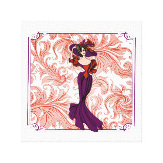 Vintage Red and Purple Lady Illustration Canvas Prints