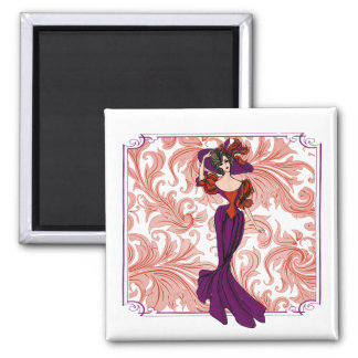 Vintage Red and Purple Lady Illustration 2 Inch Square Magnet