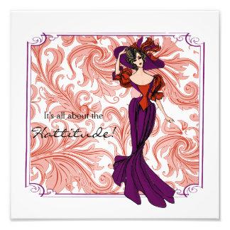 Vintage Red and Purple Lady Illustration Photo Print