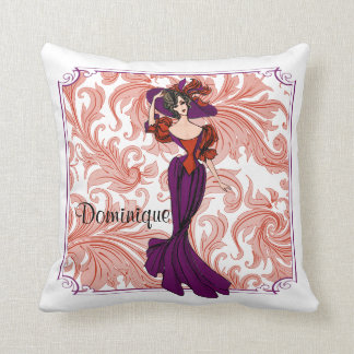 Vintage Red and Purple Lady Illustration Throw Pillow