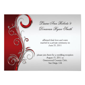 Vintage Red and Silver Ornate Post Wedding Card