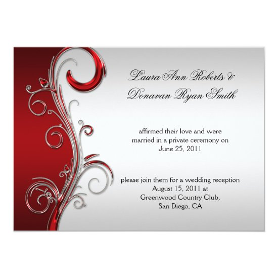 Vintage Red and Silver Ornate Post Wedding Invitation