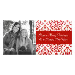 Vintage Red and White Christmas Damask Personalized Photo Card