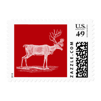 Vintage Red and White Reindeer Christmas Postage Stamp
