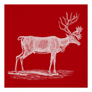 Vintage Red and White Reindeer Christmas Poster
