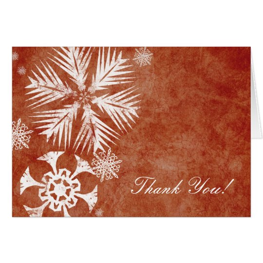 Vintage Red and White Snowflakes Thank You Card