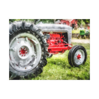 Vintage Red and White Tractor Watercolor Canvas Print