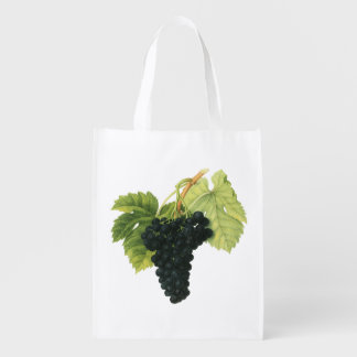 Vintage Red and White Wine Grapes on a Vine, Fruit Reusable Grocery Bag