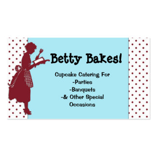 Vintage Red & Aqua Cooking Related Business Card