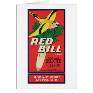 Vintage Red Bill Celery Label Card