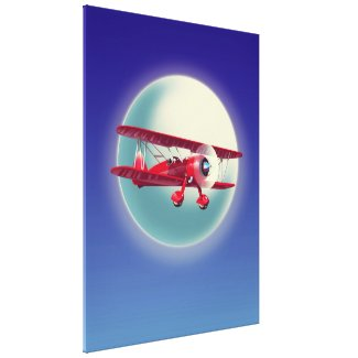 Vintage Red Biplane Canvas Print