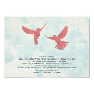 Vintage Red Bird Bridal Shower Invitations