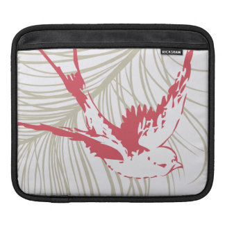 Vintage Red Bird & Feather iPad Sleeve