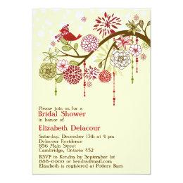 Vintage Red Bird Floral Bridal Shower Invitation