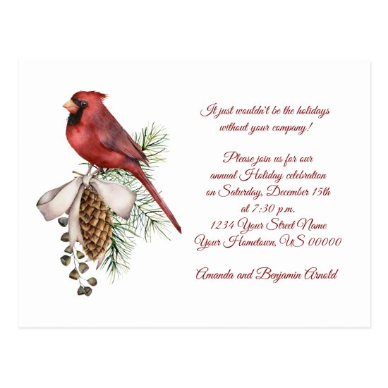 Vintage Red Bird Pine Cones Ribbon Holiday Party Postcard