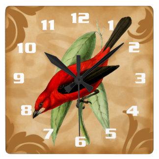 Vintage Red Bird Stylish and Elegant Square Wall Clock