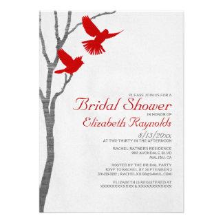 Vintage Red Birds Bridal Shower Invitations Custom Announcements