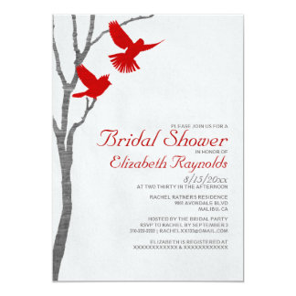 Vintage Red Birds Bridal Shower Invitations Custom Announcements