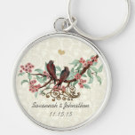 Vintage Red Birds Pink Flowers Wedding Key Chain