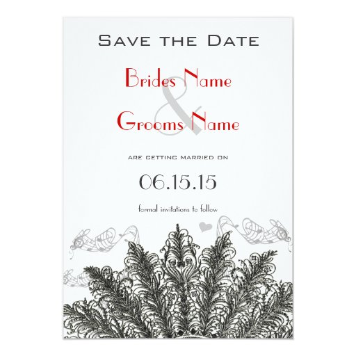 Vintage Red Birds Wedding Save the Date 5x7 Paper Invitation Card
