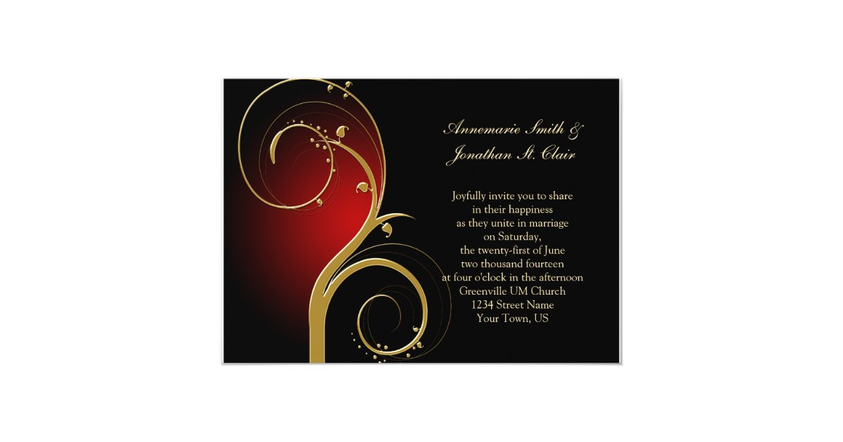 Wedding Invitations Red And Black: Vintage Red Black And Gold Wedding Invitation