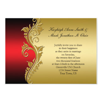 Vintage Red Black and Gold Wedding Invitation