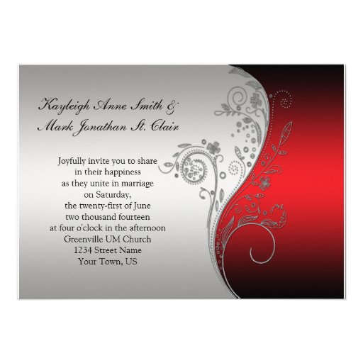 """Red And Silver Wedding Invitations: Vintage Red Black And Silver Wedding Invitation 5"""" X 7"""