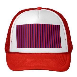 Vintage Red Black Purple Stripes Pattern Mesh Hats