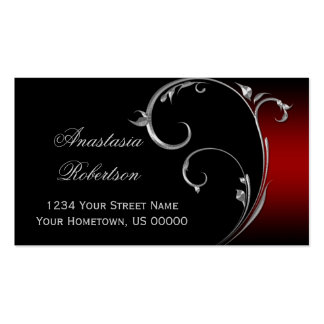 Vintage Red Black Silver Swirl Business Card