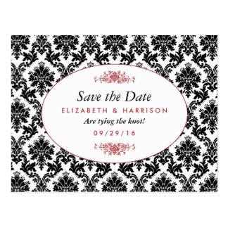 Vintage Red, Black & White Damask Save The Date Postcard