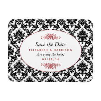 Vintage Red, Black & White Damask Save The Date Rectangular Photo Magnet