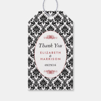 Vintage Red, Black & White Damask Wedding Favor Gift Tags