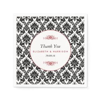 Vintage Red, Black & White Damask Wedding Paper Napkin