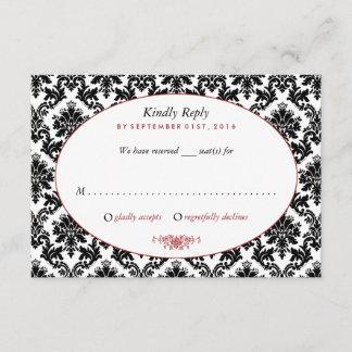 Vintage Red, Black & White Damask Wedding RSVP