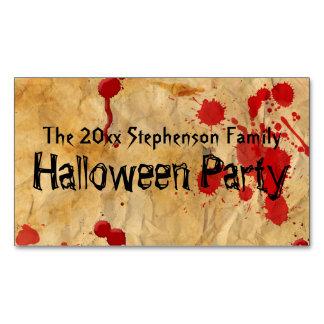 Vintage Red Blood Splatter Halloween Party Business Card Magnet