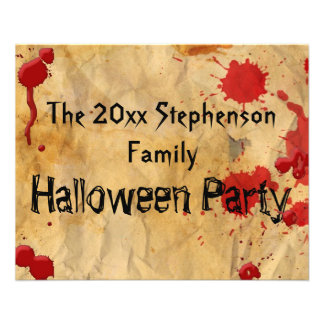 Vintage Red Blood Splatter Halloween Party Flyer