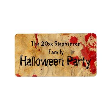 CustomInvites Vintage Red Blood Splatter Halloween Party Label