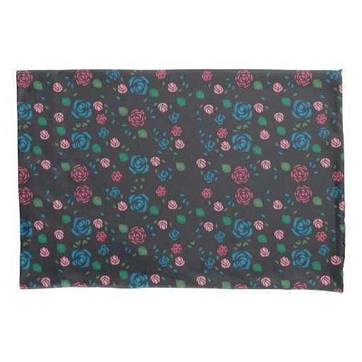 vintage red & blue Floral Pattern Pillow Case