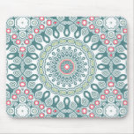 Vintage Red, Blue & Green Kaleidoscope Flowers Mouse Pad